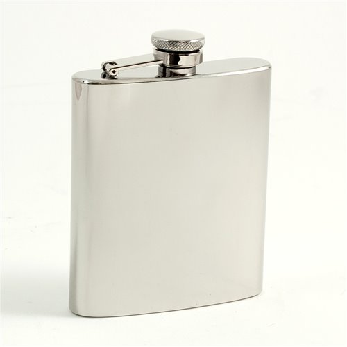 7 oz Stainless Steel Mirror Finish Flask with Captive Cap and Durable Rubber Seal