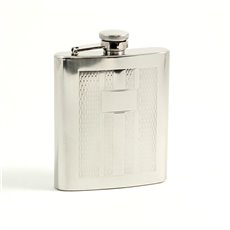7 oz Stainless Steel Mirror Finish Weave Design Flask with Captive Cap and Durable Rubber Seal