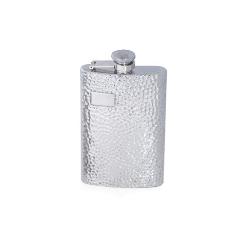 8 oz Stainless Steel Hammered Finish Flask with Captive Cap and Durable Rubber Seal