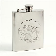 8 oz Stainless Steel Fishing Flask with Captive Cap and Durable Rubber Seal