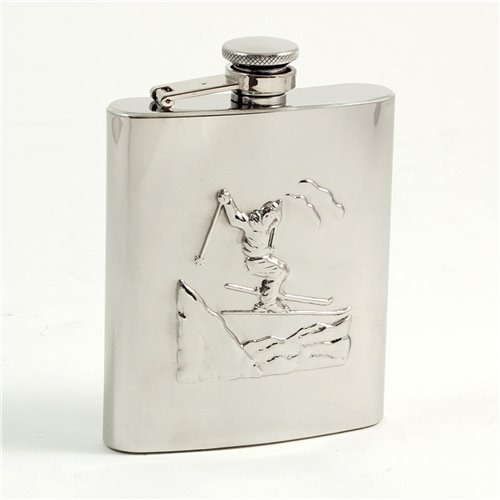 8 oz Stainless Steel Skier Flask with Captive Cap and Durable Rubber Seal