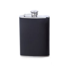 8 oz Stainless Steel Black Leather Flask with Captive Cap and Durable Rubber Seal