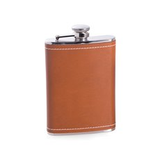8 oz Stainless Steel Saddle Brown Leather and White Stitch Flask with Captive Cap and Durable Rubber Seal