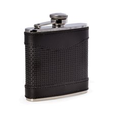 5 oz Stainless Steel Black Leather Woven Flask with Captive Cap and Durable Rubber Seal