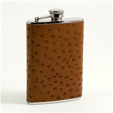 8 oz Stainless Steel Brown Ostrich Leather Flask with Captive Cap and Durable Rubber Seal