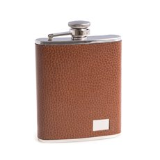 6 oz Stainless Steel Brown Leather Flask with Engraving Plate, Captive Cap and Durable Rubber Seal