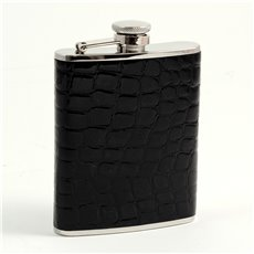 6 oz Stainless Steel Black Croco Leather Flask with Captive Cap and Durable Rubber Seal