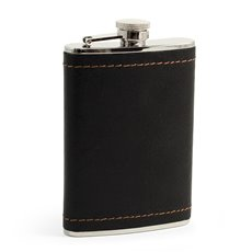 8 oz Stainless Steel Black Leather and Mustard Stitch Flask with Captive Cap and Durable Rubber Seal