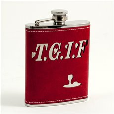 6 oz Stainless Steel Red Leather TGIF Flask with Stitching, Captive Cap and Durable Rubber Seal