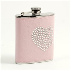 6 oz Stainless Steel Pink Leatherette Flask with Reign Stone Heart Design, Captive Cap and Durable Rubber Seal