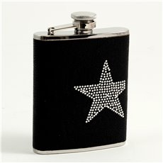 6 oz Stainless Steel Black Leatherette Flask with Reign Stone Star Design, Captive Cap and Durable Rubber Seal