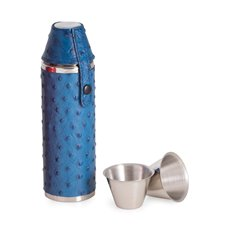 10 oz Stainless Steel Blue Ostrich Leather Cylinder Flask with Two Cups