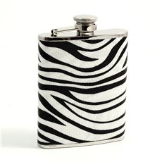 6 oz Stainless Steel Zebra Pattern Flask with Captive Cap and Durable Rubber Seal
