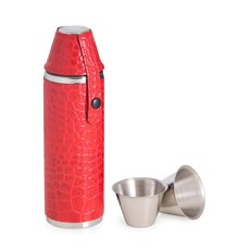 10 oz Stainless Steel Red Croco Leather Cylinder Flask with Two Cups