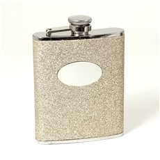 6 oz Stainless Steel Gold Glitter Flask with Oval Medallion, Captive Cap and Durable Rubber Seal