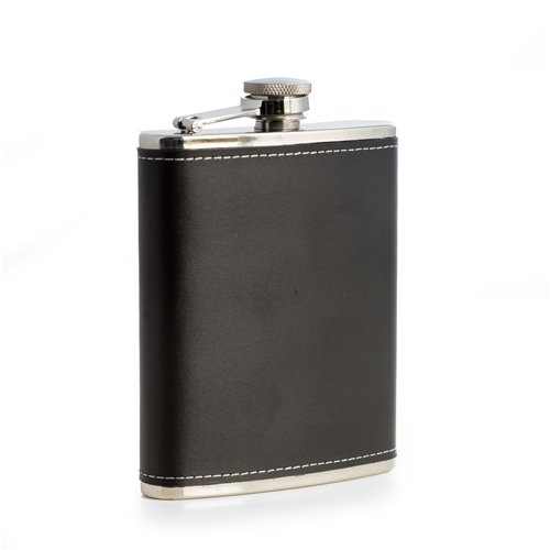 6oz Stainless Steel Black Leather Flask with Contrast Stitching