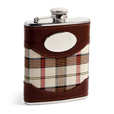 6 oz Stainless Steel Brown Leather and Beige Plaid Fabric Flask with Oval Emblem, Captive Cap and Durable Rubber Seal