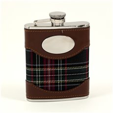 6 oz Stainless Steel Brown Leather and Blue Plaid Fabric Flask with Oval Emblem, Captive Cap and Durable Rubber Seal