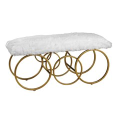 Uttermost Blaine Plush White Fur Bench