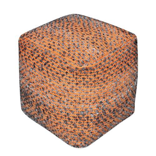 Uttermost Valda Orange Wool Pouf