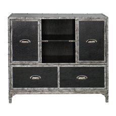 Uttermost Shawn Black Leather Accent Chest