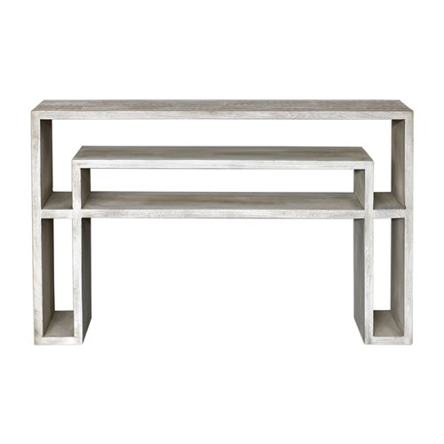 Uttermost Genara Bone White Carved Console Table