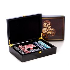 Poker Set with 200, 115 gram Clay Composite Chips, Two Decks of Playing Cards and 5 Poker Dice in a Inlaid Lacquer Wood Box