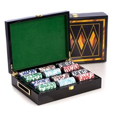 Poker Set with 300, 115 gram Clay Composite Chips, Two Decks of Playing Cards and 5 Poker Dice in a Inlaid Lacquer Wood Box