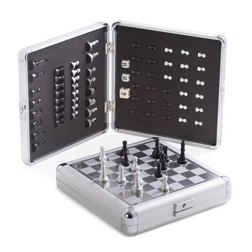 Magnetic Chess and Backgammon Set in Stainless Steel Case