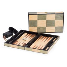 Backgammon Set with Birch and Olive Wood Inlay