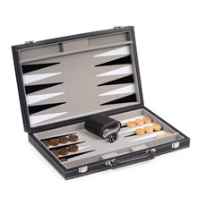Black Leatherette 15 Backgammon Set with Chrome Accents and Felt Interior Lined