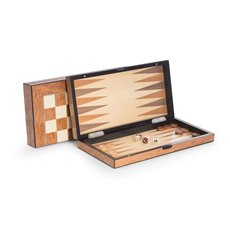 Lacquer Finished 155 Brown Inlaid Wood Backgammon and Chess Set