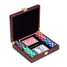 Poker Set with 100, 115 gram Clay Composite Chips, Two Decks of Playing Cards and 5 Poker Dice in Cherry Finish Wood Case and Brass Hardware