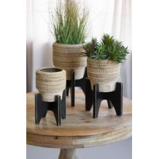 Round Clay Planters With Black Wooden Bases Set of 3