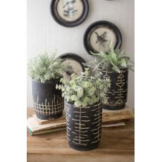Black And White Clay Planters Set of 3