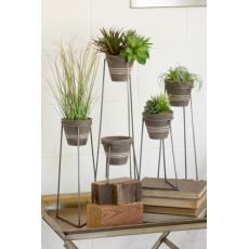 Clay Pots With Wire Bases Set of 5