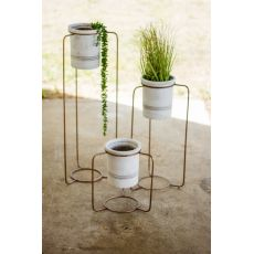 White Wash Pots With Copper Finish Metal Stands Set of 3