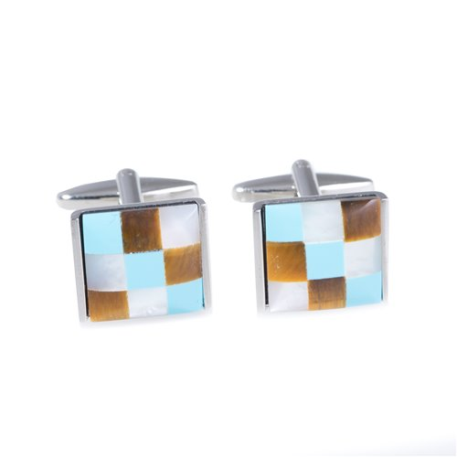 Rhodium Plated Cufflinks with Semi Precious Stones