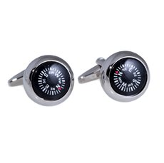 Rhodium Plated Cufflinks with Compass