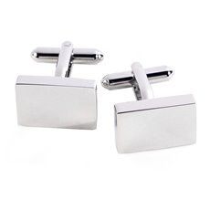 Rhodium Plated Rectangular Cufflinks