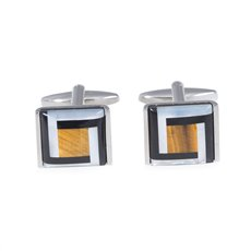 Rhodium Plated Square Cufflinks with Black and Gold Semi Precious Stones