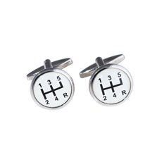 Rhodium Plated Cufflinks with Gear Shifter Design