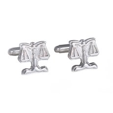 Rhodium Plated Cufflinks with Legal Scales Design