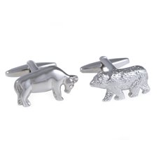 Rhodium Plated Cufflinks Bull and Bear Design