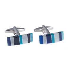 Rhodium Plated Cufflinks with Semi Precious Multi Color Stones