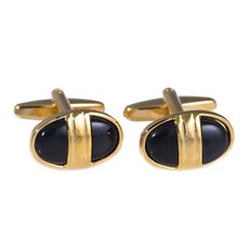 Gold Plated and Black Onyx Cufflinks