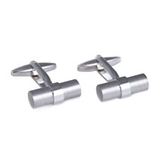 Rhodium Plated Round Bar Cufflinks with Satin Finish