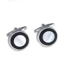 Rhodium Plated Round Cufflinks with Black Onyx and Mother of Pearl