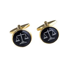 Gold Plated Round Cufflinks with Scales Design