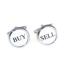 Rhodium Plated Round Buy and Sell Cufflinks